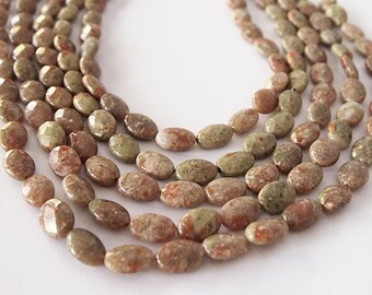 Strand Unakite Gemstone Beads Oval Faceted Ochre Size 14 x 10mm