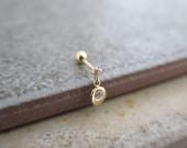 14K Solid Gold piercing/CZ dangle Piercing/Helix piercing/cartilage earring/Tragus earring /Delicate ear piercing/Dangle Piercing/Conch
