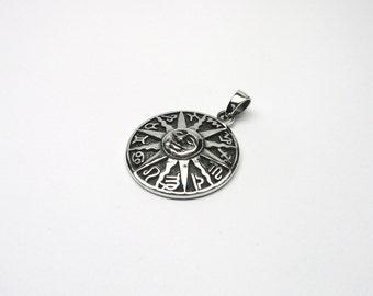 Astrological wheel Silver 925 Sun zodiac sign pendant