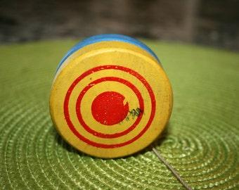 1950s Wooden Yo Yo//Made in Japan//Blue and Yellow Yo Yo//Vintage Yo Yo