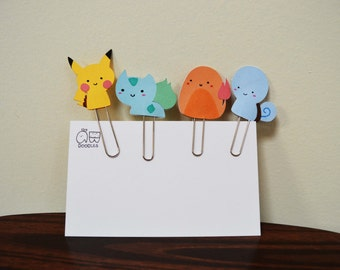 pokemon paper clips - pikachu, charmander, bulbasaur, squirtle - handmade cute paper clip - planner accessories