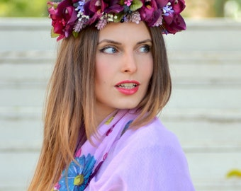 Wedding  flower  crown Burgundy floral crown Orchid hair wreath Burgundy headpiece Bridal  hair wreath Boho Purple halo