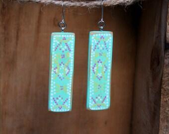 Boho Earrings, Wood Earrings, Blue Earrings, Distressed Wood, Rustic, Aqua earrings, Boho chic, Handmade earrings, Tribal, Gift for her