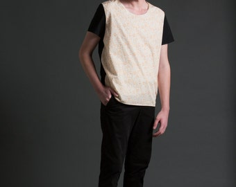 Men's Oversized Color Blocked Woven T-Shirt in An Orange Minimal Abstract Print