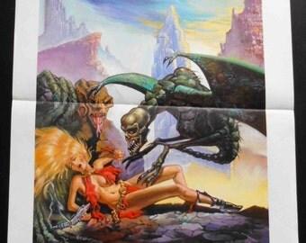 "Cartel ORIGINAL de la película ""el planeta del terror"". ""Galaxia del Terror"". Roger Corman 1981. Cartel de la película. Películas de culto. No hay reproducción."