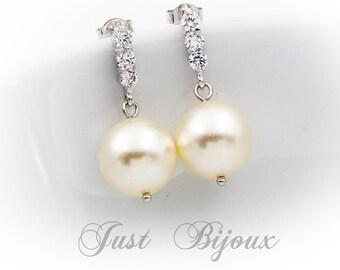 Bridesmaid Earrings Zirconia Swarovski Pearl Earrings Wedding Jewelry Bridal Earring Bridesmaid Gift Wedding Accessory Zirconia Earrings