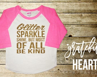 Sparkle shine kids saying tshirt in glitter