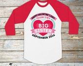 Valentines Day Pregnancy Announcement Shirt - Big Sister Shirt - Big Sister Announcement Shirt - Personalized Big Sister Long Sleeve Shirt