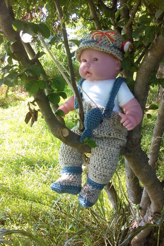 Crochet handmade 0 3 months baby fishing outfit great for for Baby fishing outfit