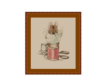 The Tailor Mouse Counted Cross Stitch Pattern, Beatrix Potter, Instant Digital Download Cross Stitch Chart (P-079)