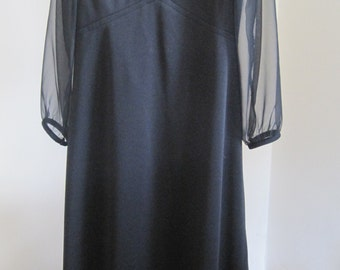 Joan Curtis, MAXI Dress, Black Polyester, Sheer Long Sleeves, Vintage