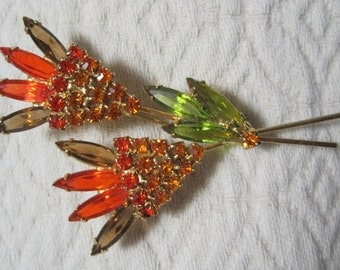 Cut Glass Brooch in Oranges, Greens, Bronze