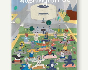 Yoga in the National Mall - Postcards from Washington DC - Hirshhorn museum, architecture gift, DC poster, Contemporary Art, yoga lover, DC