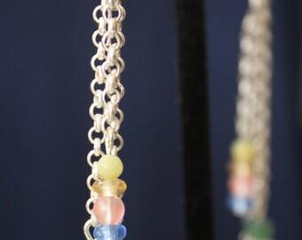 up-cycled triple drop bead earrings