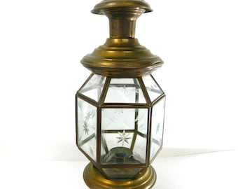 Vintage Candle Lantern...1960s Etched Brass Lantern...Etched Starburst Candle Holder..Brass Hanging Candle Votive..Midcentury Etched Lantern