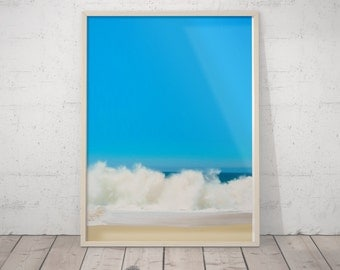 Beach Print Art, Ocean Waves Decor, Coastal Wall Art, Turquoise Blue Aqua Abstract, Gift, Ocean Water Print, Coastal Wall Art, Printable Art