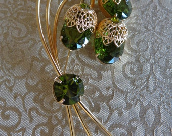 Vtg green crystal brooch Sarah Coventry large signed mid century pin
