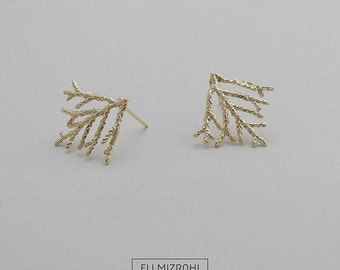 wedding earrings, gold earrings sale, 14K Gold, Leaf earrings, anniversary, gift for her, natural, large earring, glamorous, romantic