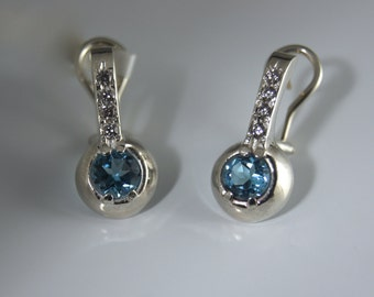 Earrings Blue Topaz and cubic zirconia in sterling silver