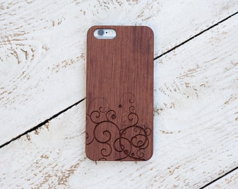 Wood Iphone 6s Case, Iphone 6 plus, 5, 5s, SE, Cover, Rosewood, Black Walnut, Laser Engraved #4005