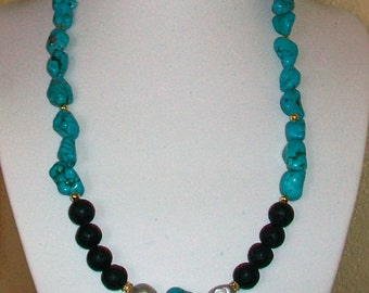 Necklace with turquoise stones, volcanic lava and cultured pearls, 55 cm