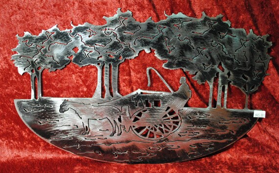 Horse Drawn Carriage cut in, Tress cut out, Romantic Metal Art, Horse, Carriage, Trees, Gift for Her, Home Decor, Office Decor, Gift Shop