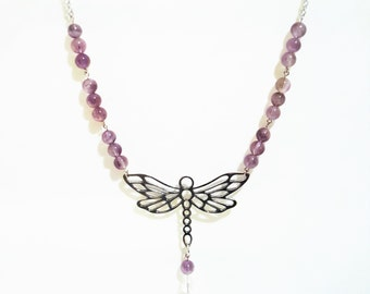 Beaded Silver Dragonfly Necklace
