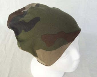 Camouflage slouchy beanie Jersey beanie Men's hat Unisex hat Slouchy beanie Large size hat Eco Friendly cotton Organic clothing Sportswear
