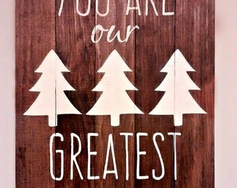 Woodland Theme Nursery Wood Sign. Rustic Nursery Decor. You Are Our Greatest Adventure. Baby Room Decor.