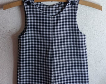 Vintage 1970s Black & White Checkered Little boys Romper