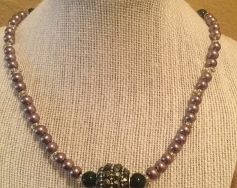 Black crystal pendant necklace