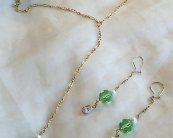 August birthstone Lariat Necklace and earrings set/ dangling green peridot/ pearls/ cubic zirconia/ 14kt gold filled lariat