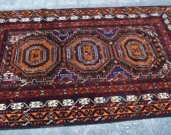 6'6 x 4'3 Beautiful Afghan Handmade Baluch Rug Nomadic Rug Nomadic Color