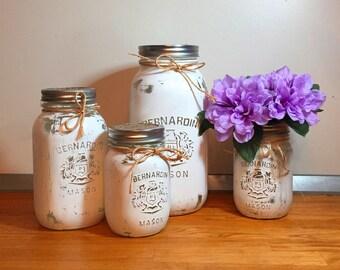 White Mason Jar Kitchen Canister Set,   Gift Wrapped, with Flower Vase & Tray - Rustic Farmhouse Storage, Housewarming/Wedding Gift