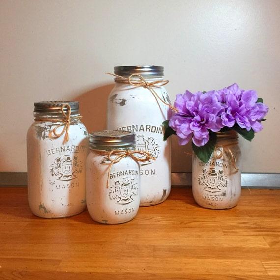 Mason Jar Kitchen: White Mason Jar Kitchen Canister Set Mason Jar Decor Kitchen
