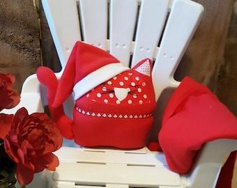 Christmas cat pillow pal, stuffed animal cat, child's travel pillow, cat pillow pal, red stuffed cat, snuggle cat pillow, nursery decor, cat