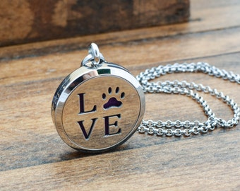 Love Paw Print Aromatherapy Necklace - Paw Print Necklace - Essential Oil Diffuser Necklace - Dog Paw Print Jewelry - Cat Paw Necklace
