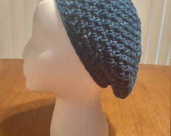Teal Crocheted Slouchy Hat