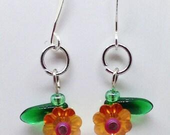 Orange Crystal Flower Earrings, Orange Flowers with Pink and Green, Crystal Flower Earrings