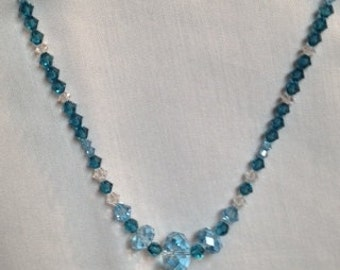 Beautiful Handmade Swarovski Crystal Necklace in Shades of Aqua and Teal Blue