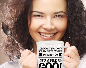 Turn Into A Pile of Goo Funny Crochet Coffee Mug
