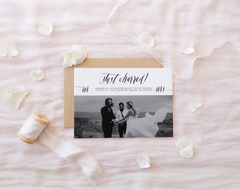 just married announcement card · 5x7 · printable wedding stationery · elopement announcement · calligraphy card · wedding photo card · 0 0 2