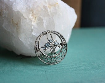 Antique Sterling and Enamel Filigree Pin with Blue Forget Me Not Flowers -- Victorian Jewelry, Milgrain