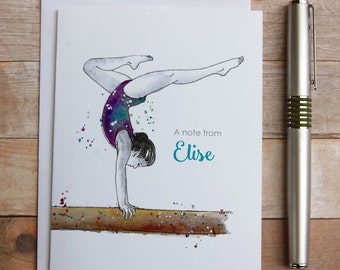 Personalized Gymnastics Note Cards -  gymnastics gymnast, gymnastics gymnast coach gift, watercolor gymnast gymnastics, gymnast thank you