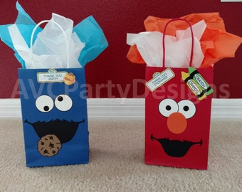 Sesame street, Elmo, Cookie monster, Abby Cadabby,Grover,Ernie Birthday Party Favor Bags