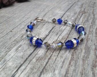 Swarovski Crystal Royal Blue and Silver Beaded Bracelet w/Sterling Silver Toggle Clasp