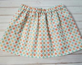 Coral, Mint, Gold and White Skirt. Infant/Newborn/Baby/Toddler/Girls Skirt. Handmade Skirt.