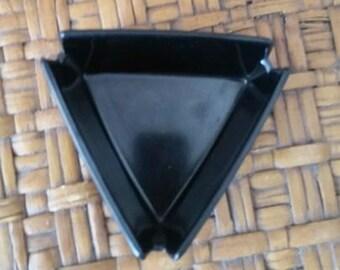 Mid Century Modern Jet Black Triangle Plastic Ashtray