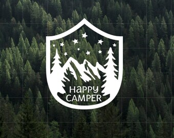 Happy Camper Vinyl Decal | MacBook Decal | Camper Decal | Car Decal | Yeti Decal | Water Bottler Decal | Happy Camper | Camping | Outdoors