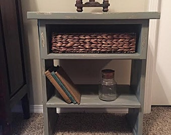 Sage Green Table with Basket Drawer